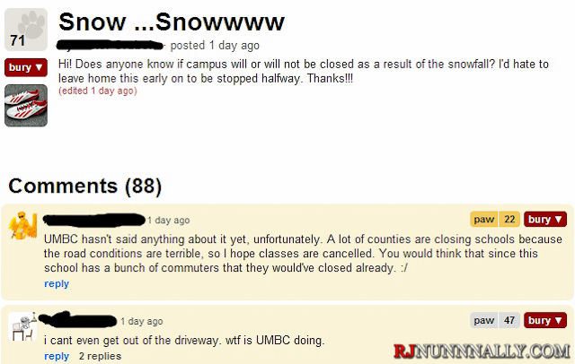 MyUMBC Snow Discussion